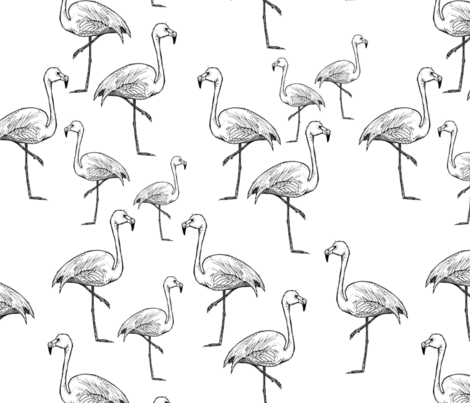 Black and White Flamingos - Larger Size fabric by taraput on Spoonflower - custom fabric