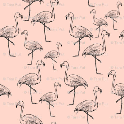 Flamingos on Peachy Pink - Larger Size