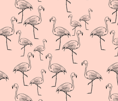 Flamingos on Peachy Pink - Larger Size fabric by taraput on Spoonflower - custom fabric