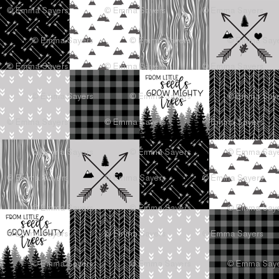 Mighty Trees - Wholecloth Cheater Quilt / Monochrome