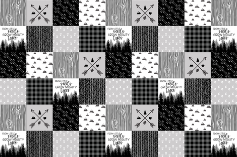 Mighty Trees - Wholecloth Cheater Quilt / Monochrome fabric by longdogcustomdesigns on Spoonflower - custom fabric