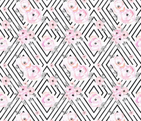 Blush Roses Mod Small fabric by crystal_walen on Spoonflower - custom fabric