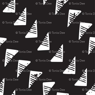 Block Print Monochrome Triangles - White on Black