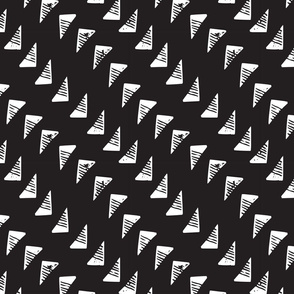 Block Print Monochrome Triangles - White on Black