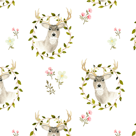 Woodland deer floral fabric by mintpeony on Spoonflower - custom fabric
