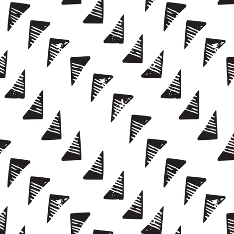 BlockPrint Monochrome Triangles Black on White fabric by tonia_dee on Spoonflower - custom fabric