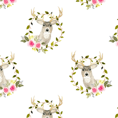 Woodland deer floral 2 fabric by mintpeony on Spoonflower - custom fabric