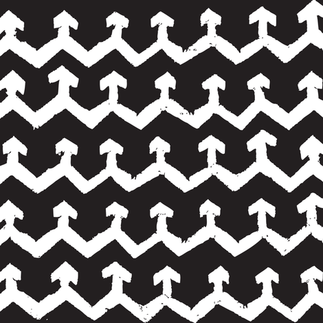 Block Print Monochrome Arrow Chevron - white on black fabric by tonia_dee on Spoonflower - custom fabric