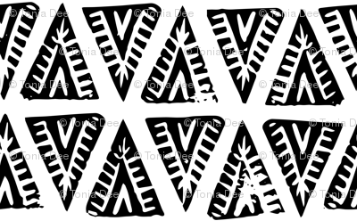 Block Print Monochrome Tipi Triangles - black on white