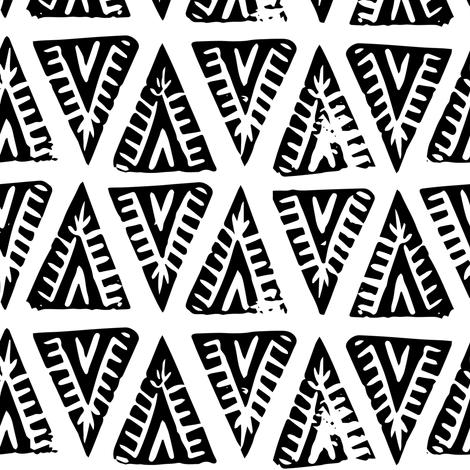 Block Print Monochrome Tipi Triangles - black on white fabric by tonia_dee on Spoonflower - custom fabric