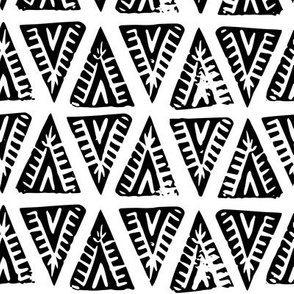 Block Print Monochrome Tipi Triangles - black on white