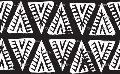 Block Print Monochrome Tipi Triangles