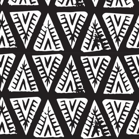 Block Print Monochrome Tipi Triangles fabric by tonia_dee on Spoonflower - custom fabric