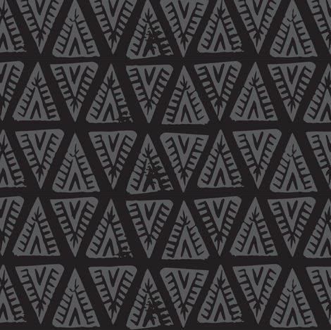 Block Print Monochrome Tipi Triangles - Black Charcoal fabric by tonia_dee on Spoonflower - custom fabric