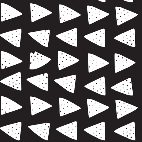 Block Print Monochrome Triangles- White on Black fabric by tonia_dee on Spoonflower - custom fabric
