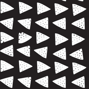 Block Print Monochrome Triangles- White on Black