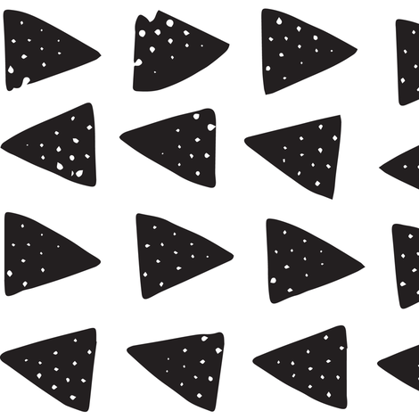 Block Print Monochrome Triangles - Black on White fabric by tonia_dee on Spoonflower - custom fabric