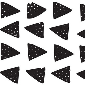 Block Print Monochrome Triangles - Black on White
