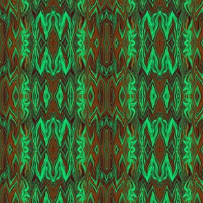 Digital Dalliance, green and brown