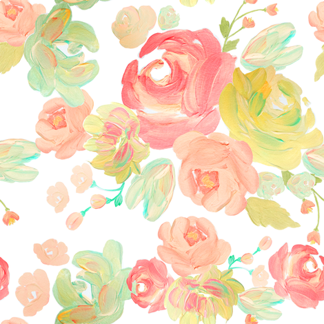 Indy  Bloom Blushing Blossoms fabric by indybloomdesign on Spoonflower - custom fabric