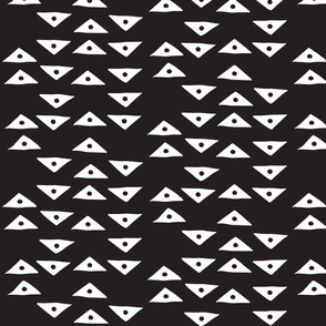 Block Print Monochrome Triangles Birds Eye - White on Black