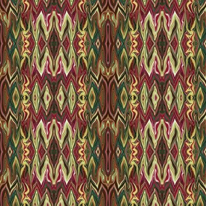 Digital Dalliance, maroon, gold, green and brown-ed