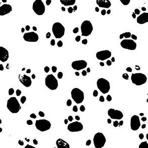 Messy Kitty Prints - Monochrome Black on White