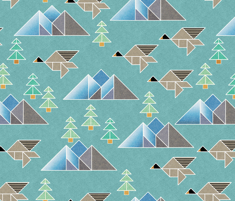 tangram flock o geese migration fabric by vo_aka_virginiao on Spoonflower - custom fabric