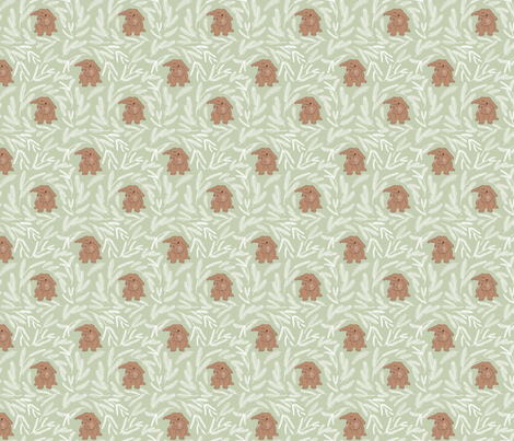Baby rabbit pastel green fabric by maria_minkin on Spoonflower - custom fabric