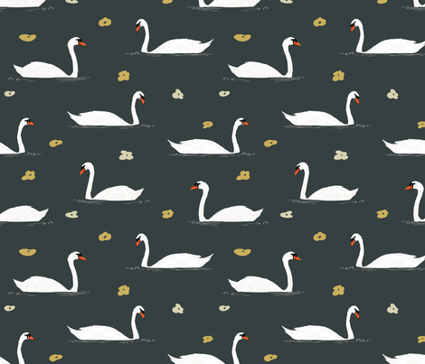 White Swans Pattern fabric by melissa_boardman on Spoonflower - custom fabric