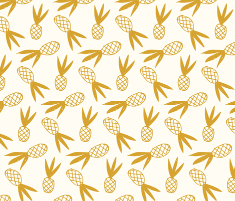 Pineapple Gold Doodle fabric by heatherhightdesign on Spoonflower - custom fabric