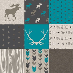 Wholecloth Quilt -Teal Redstone Canyon - Moose, antlers, arrows wild and free  in dark brown/dark grey, beige/tan