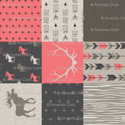 Wholecloth Quilt - Redstone Canyon - Strawberry Pink -Moose, antlers, arrows, wild and free in rust, brown, tan-ch-ch-ch