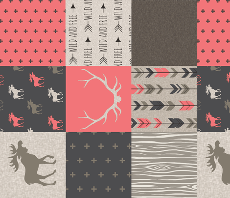 Wholecloth Quilt - Redstone Canyon - Strawberry Pink -Moose, antlers, arrows, wild and free in rust, brown, tan-ch-ch-ch fabric by sugarpinedesign on Spoonflower - custom fabric