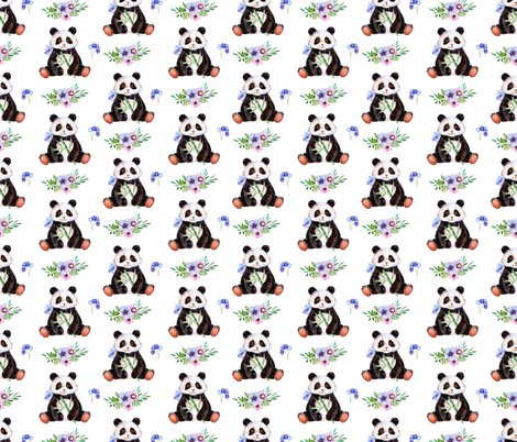 Floral Pandas fabric by littlelambandivy on Spoonflower - custom fabric