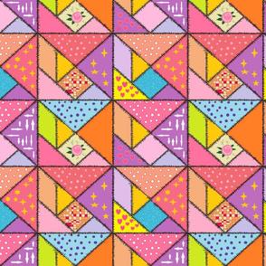 Pink Tangram Patchwork
