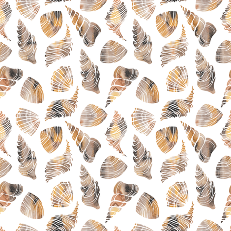 Watercolor seashells fabric by skorobogatova on Spoonflower - custom fabric
