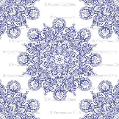 fortune mandala wedgewood blue#5759af white ground
