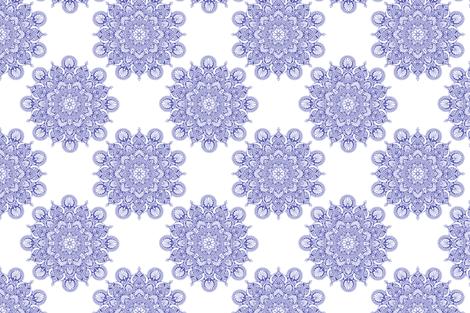fortune mandala wedgewood blue#5759af white ground fabric by keweenawchris on Spoonflower - custom fabric