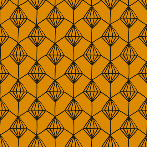 Blender Diamonds, Toffee and Black fabric by thistleandfox on Spoonflower - custom fabric