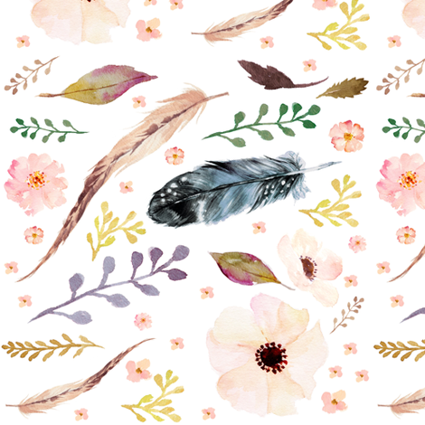 "7"" Boho Pink / Free Floating Florals & Feathers  fabric by shopcabin on Spoonflower - custom fabric"