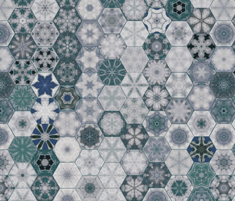 Snowcatcher Ocean Hexies fabric by snowcatcher on Spoonflower - custom fabric