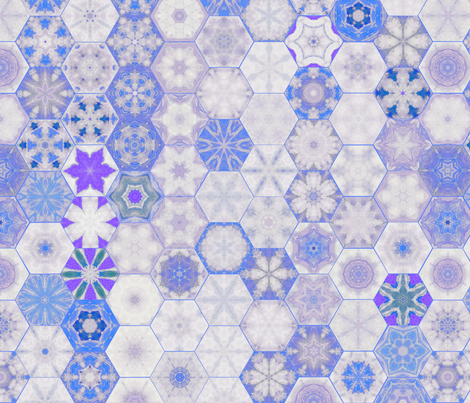 Snowcatcher Blue Ocean Hexies fabric by snowcatcher on Spoonflower - custom fabric