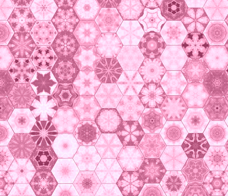 Snowcatcher Rose Ocean Hexies fabric by snowcatcher on Spoonflower - custom fabric