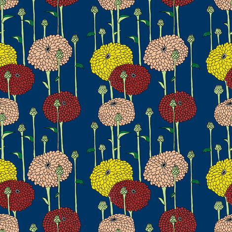 Navy Zinnias fabric by shannon_buck on Spoonflower - custom fabric