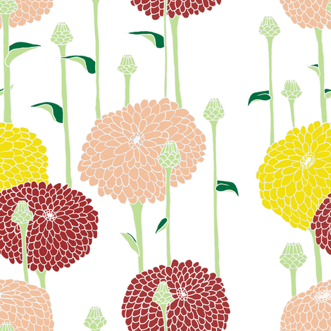 Zinnias Lite fabric by shannon_buck on Spoonflower - custom fabric