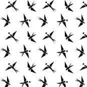 Black and White Swallow Birds and Hearts on White or Tangram Swallows Monochrome