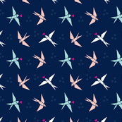 Tangrams Swallow Birds on Indigo Blue with Soft Pink Hearts