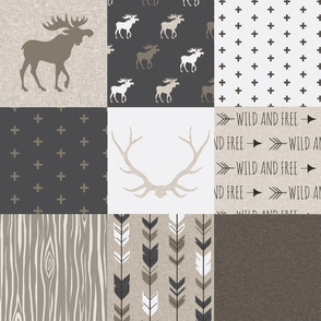 Wholecloth Quilt - Canyon - antlers, arrows  brown, tan and white