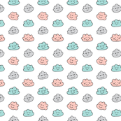 Smiling Clouds Mint, Blush Pink and Grey on White / Happy Sleepy Clouds Small and Colorful
